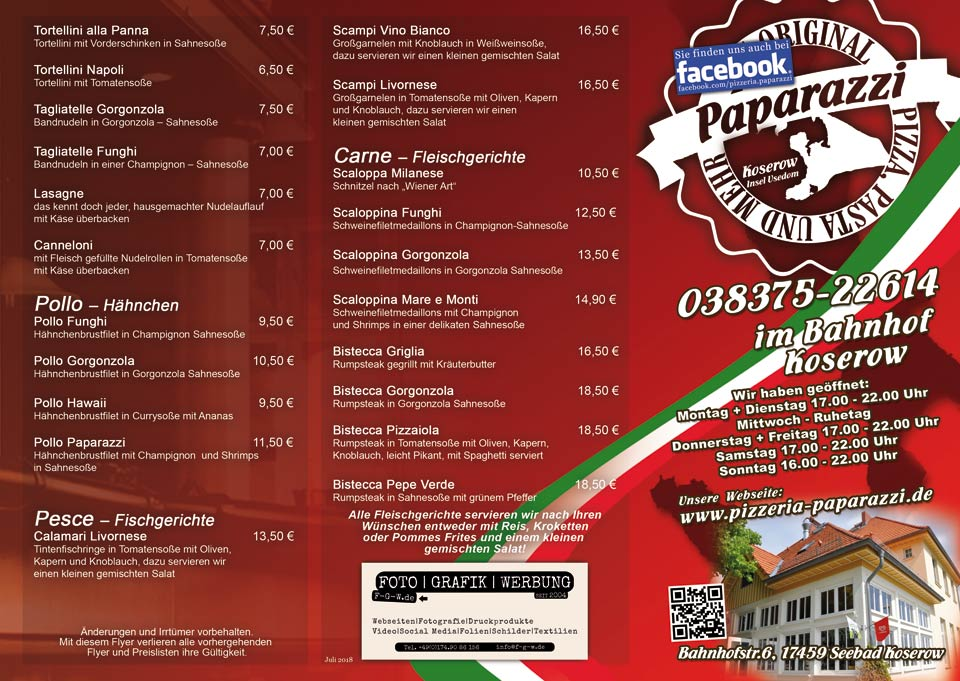 paparazzi koserow italiener speisekarte flyer